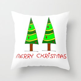 Christmas tree-pine,Yule-tree,Christmas,garlands,baubles,tinsel,evergreen,Star of Bethlehem, family Throw Pillow