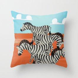 Vintage African Zebras  Throw Pillow