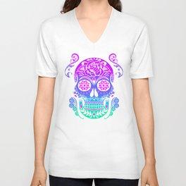 Sugar Skull Neon Flower Unisex V-Neck