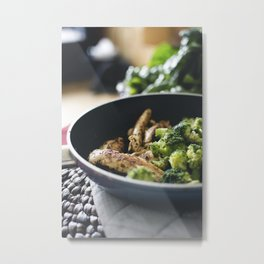 Chicken breast steak with broccoli Metal Print
