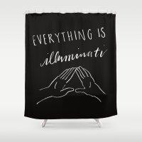 illuminati Shower Curtains featuring Everything Is Illuminati by Giuliana Hazelwood