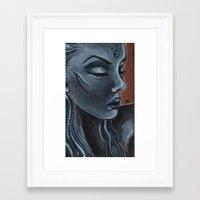 "indigo Framed Art Prints featuring Indigo by Barbora ""Mad Alice"" Urbankova"