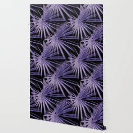 Violet On Black Tropical Vibes Beach Palmtree Vector Wallpaper