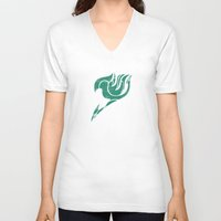 fairy tail V-neck T-shirts featuring Fairy Tail Segmented Logo Happy by JoshBeck