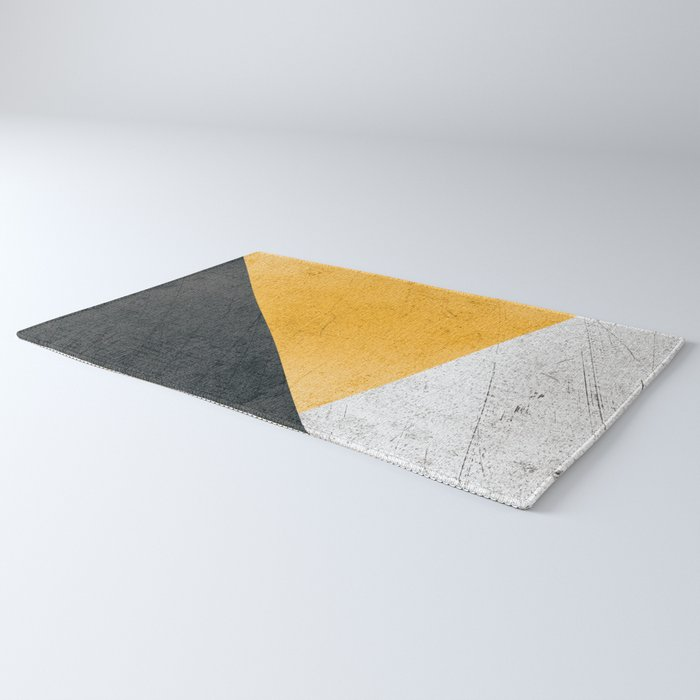 Modern Yellow & Black Geometric Rug