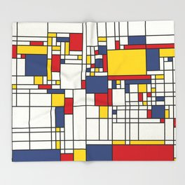 World Map Abstract Mondrian Style Throw Blanket