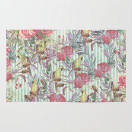 Vintage green yellow pink grunge stripes bird floral Rug
