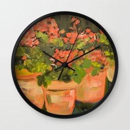 Geranium Pots Wall Clock
