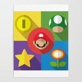 Super Mario flat Poster