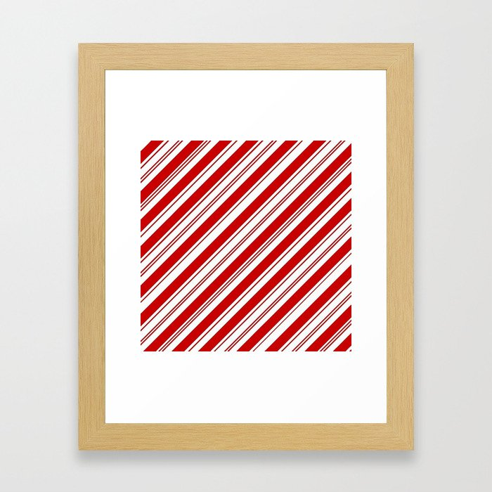 winter holiday xmas red white striped peppermint candy cane Framed Art Print