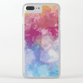 Bright Pastel Paint Splash Abstract Clear iPhone Case