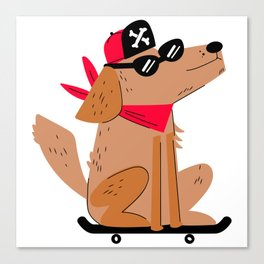 Dog On Skateboard Canvas Print