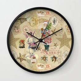 Vintage Christmas Collage Pattern Wall Clock