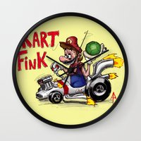 mario kart Wall Clocks featuring Kart Fink Big Bro! by Avedon Arcade