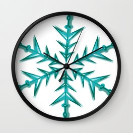 Minimalistic Aquamarine Snowflake Wall Clock