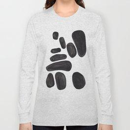 Abstract Minimalist Mid Century Modern Colorful Pop Art Black Watercolor Pebbles Organic Shapes Long Sleeve T-shirt