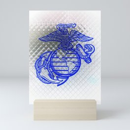 Marine Corps Semper Fidelis Eagle Globe Anchor Blue & White Mini Art Print