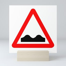 Uneven Road Traffic Sign Isolated Mini Art Print