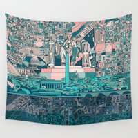 dc Wall Tapestries featuring washington dc city skyline by Bekim ART