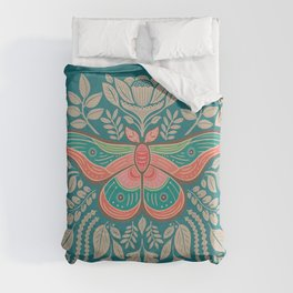 Moth Floral | Teal Duvet Cover