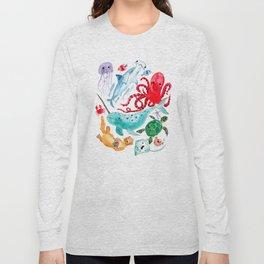 Ocean Creatures - Sea Animals Characters - Watercolor Long Sleeve T-shirt