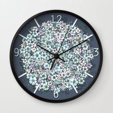 Flower Circle, mist blue Wall Clock