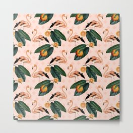 Flamingos & Tangerines Pattern Metal Print