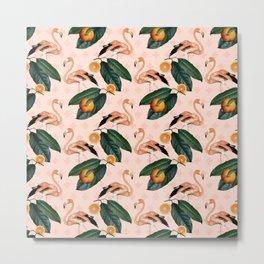 Flamingos & Tangerines Pattern Metal Print