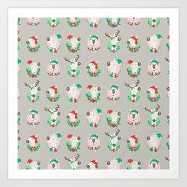 Christmas llama Art Print