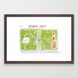 Dolores Park Map from Meanwhile in San Francisco Framed Art Print