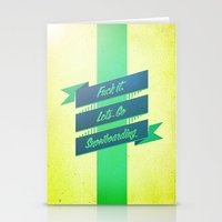 snowboarding Stationery Cards featuring Snowboarding by Cohen McDonald