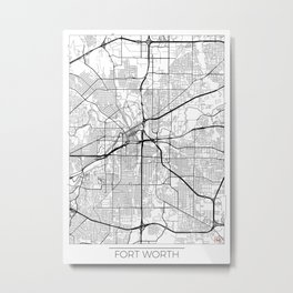 Fort Worth Map White Metal Print