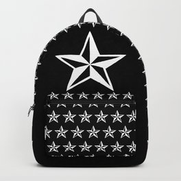 White Tattoo Style Star on Black Backpack