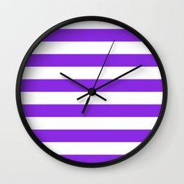 Horizontal stripes / blue violent Wall Clock
