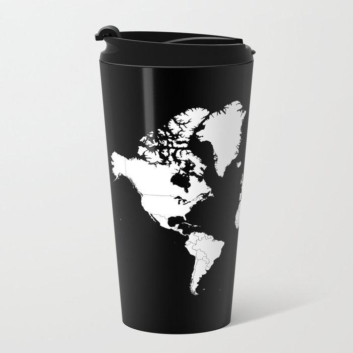 Minimalist world map white on black background metal travel mug minimalist world map white on black background metal travel mug sciox Image collections