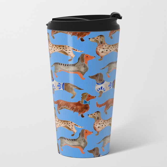 Dachshunds – Cornflower Blue Palette Metal Travel Mug
