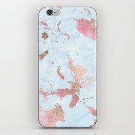 Rose Gold Foil on Summer Blue Marble iPhone Skin