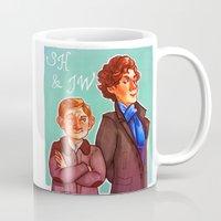 johnlock Mugs featuring Sherlock and John by Hattie Hedgehog