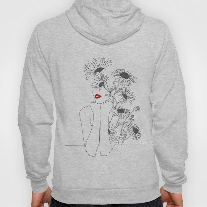 Minimal Line Art Girl with Sunflowers Hoody