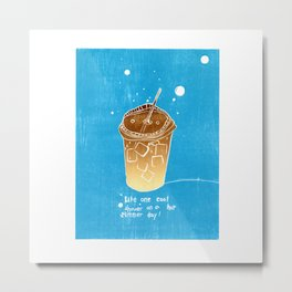 Iced Coffee: Woodblock Prints. Like One Cool Shower on a Hot Summer Day! Metal Print