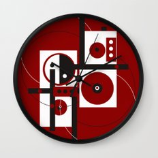 Geometric/Red-White-Black 2 Wall Clock