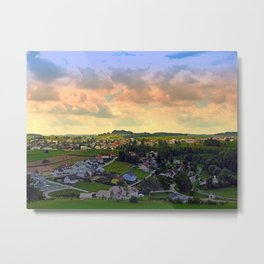 Beautiful village skyline beyond cloudy sky | landscape photography Metal Print