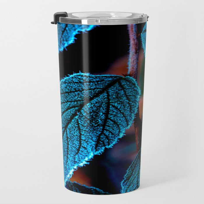 Peacock Blue Leaves Nature Background #decor #society6 #buyart Travel Mug