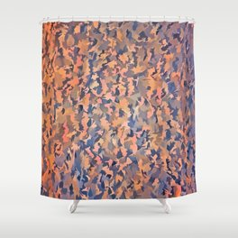 Abstract Seamless Shagpile Pale Blue and Peach Shower Curtain