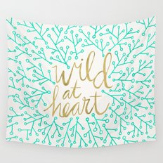 Wild at Heart – Turquoise & Gold Wall Tapestry