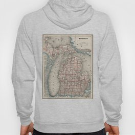 Vintage Map of Michigan (1893) Hoody