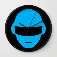 deadmau5 Wall Clocks featuring Daft Punk Thomas Bangalter Helmet by Alli Vanes