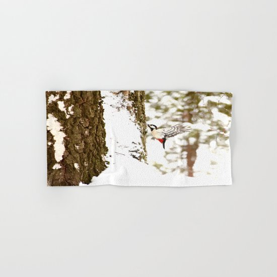 Woodpecker In Forest Hand & Bath Towel