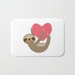 Valentines day card. Funny sloth with a red heart Bath Mat