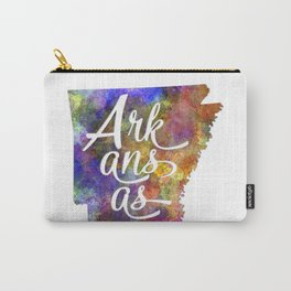 Arkansas US State in watercolor text cut out Carry-All Pouch